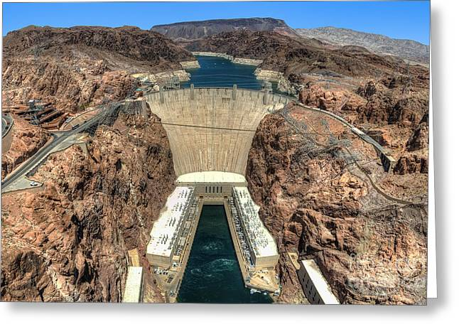 Hoover Dam Greeting Cards - View of Hoover Dam Greeting Card by Eddie Yerkish