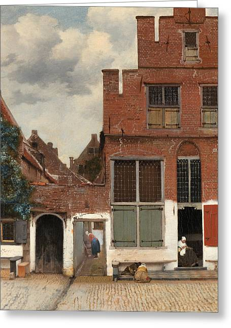 Delft Greeting Cards - View of Houses in Delft  known as  The little Street Greeting Card by Johannes Vermeer