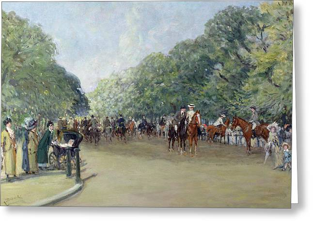 View Of Hyde Park With Figures On Rotten Row  Greeting Card by Albert Jnr Ludovici