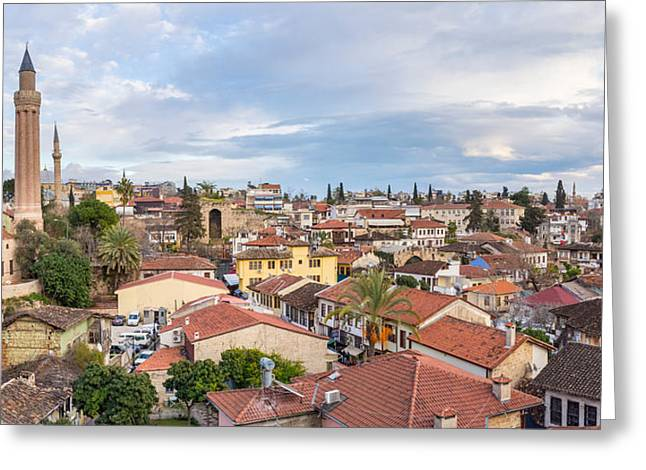 Town Clock Tower Greeting Cards - View Of Kaleici Historic District Greeting Card by Panoramic Images
