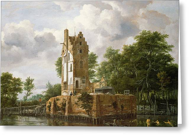 Mills Greeting Cards - View Of Kostverloren Castle On The Amstel Oil On Canvas Greeting Card by Jacob Isaaksz. or Isaacksz. van Ruisdael
