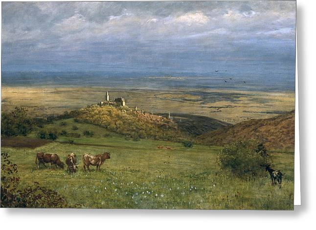 Village Views Greeting Cards - View of Kronberg in Taunus Greeting Card by Hans Thoma
