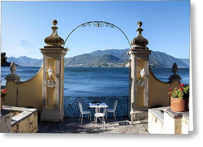 Romantic Photography Greeting Cards - View Of Lake Como From A Patio Greeting Card by Panoramic Images