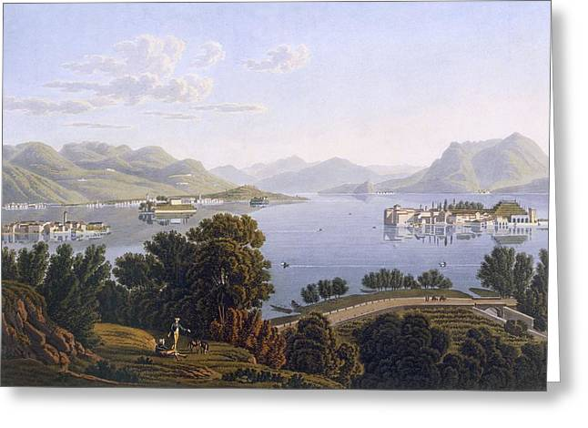 Switzerland Drawings Greeting Cards - View Of Lake Maggiore And The Borromean Greeting Card by Swiss School