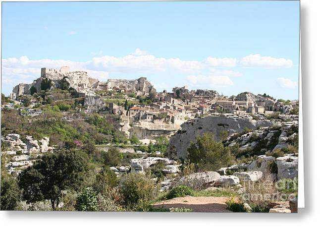 Provence Village Greeting Cards - View of Les Baux de Provence Greeting Card by Christiane Schulze Art And Photography
