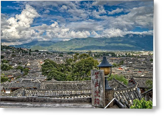 Chinese Minority Greeting Cards - View of Lijiang old town Greeting Card by James Wheeler