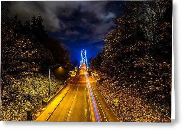 Vancouver At Night Greeting Cards - View of Lions Gate Bridge on an Overpass at Stanley Park Vancouver BC Greeting Card by Winson Tang