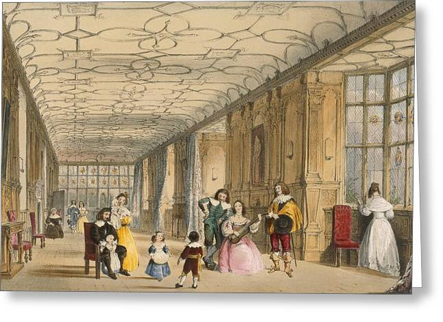 Playing Musical Instruments Greeting Cards - View Of Long Hall At Haddon Greeting Card by Joseph Nash