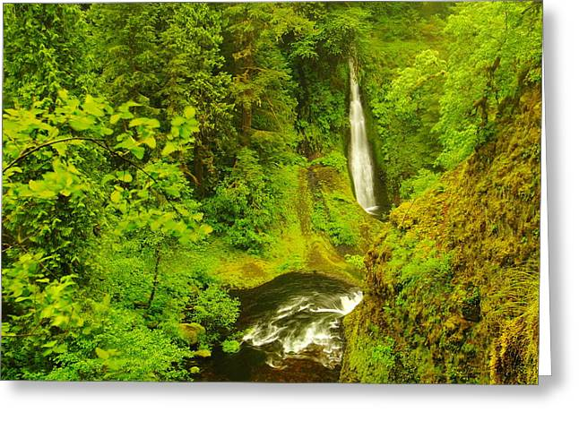 Eagle Creek Greeting Cards - View of Loowit Falls Greeting Card by Jeff  Swan
