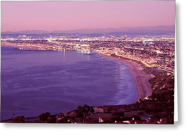 Illuminate Greeting Cards - View Of Los Angeles Downtown Greeting Card by Panoramic Images