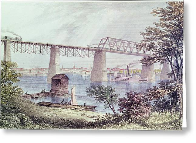 Railway Greeting Cards - View Of Louisville Coloured Engraving Greeting Card by Asa Coolidge Warren