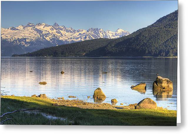 Hdr Landscape Greeting Cards - View Of Lutak Inlet And The City Of Greeting Card by Michael Criss