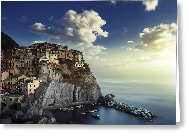 Sunset Over The Village Greeting Cards - View Of Manarola On The Rocks Greeting Card by Evgeny Kuklev