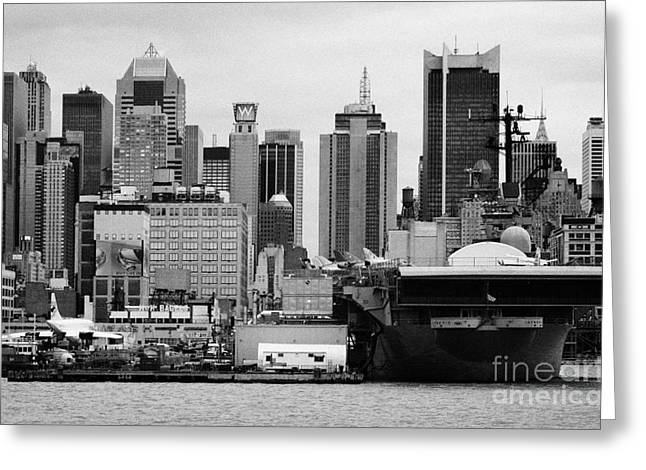 Manhatan Greeting Cards - view of manhattan skyline USS Intrepid Aircraft Carrier new york city landmarks Greeting Card by Joe Fox