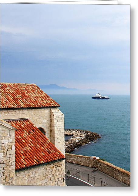 Antibes Greeting Cards - View Of Mediterranean In Antibes France Greeting Card by Ben and Raisa Gertsberg