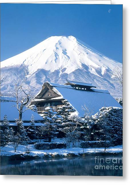 Japan Village Greeting Cards - View Of Mount Fuji From Oshino Village Greeting Card by Hiroshi Harada