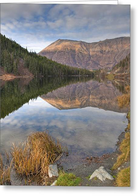 Hdr Landscape Greeting Cards - View Of Mountains Reflected In Jerome Greeting Card by Ken Baehr