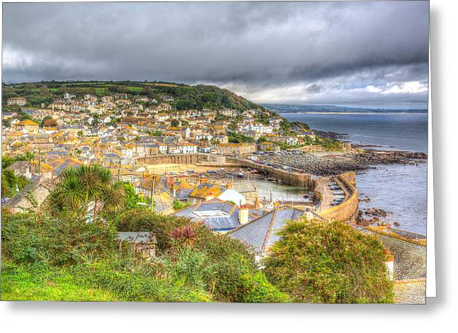 Ocean Vista Greeting Cards - View of Mousehole harbour and fishing village Cornwall England UK on an overcast cloudy winter day Greeting Card by Michael Charles