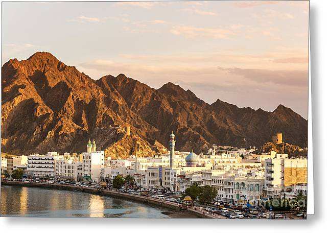 Sunset Posters Greeting Cards - View of Muscat at sunset - Oman Greeting Card by Matteo Colombo