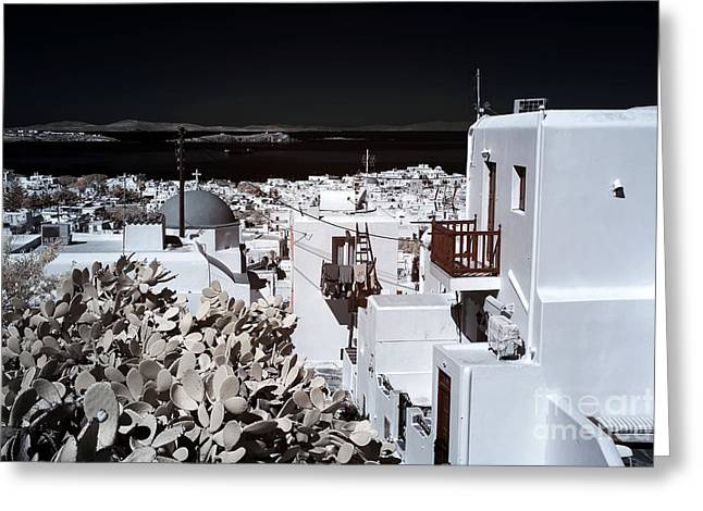 Ir Photography Greeting Cards - View of Mykonos Town infrared Greeting Card by John Rizzuto
