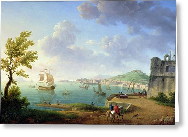 View Of Naples From The Castel Dellovo Greeting Card by Pierre Joseph Petit