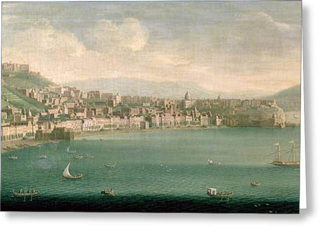 Italian Landscape Photographs Greeting Cards - View Of Naples From The West, 1730 Greeting Card by Gaspar Butler