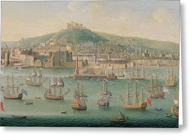 Sailing Ship Greeting Cards - View Of Naples Greeting Card by Gaspar Butler