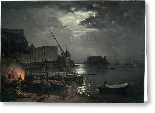 Moonlit Greeting Cards - View Of Naples In Moonlight, 1829 Oil On Canvas Greeting Card by Silvestr Fedosievich Shchedrin