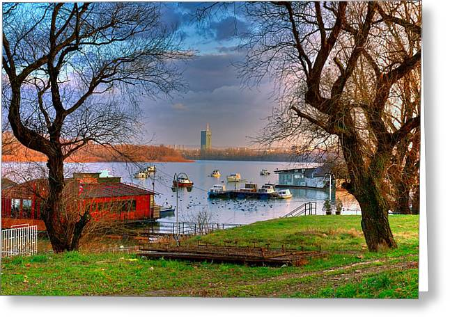 Buy Local Greeting Cards - View of New Belgrade over the Danube. Serbia Greeting Card by Juan Carlos Ferro Duque