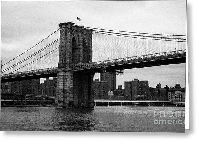 View Of New York From Beneath The Brooklyn Bridge New York City Greeting Card by Joe Fox