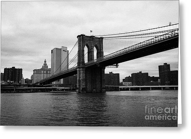 Manhatan Greeting Cards - View of New York from beneath the Brooklyn Bridge new york Greeting Card by Joe Fox