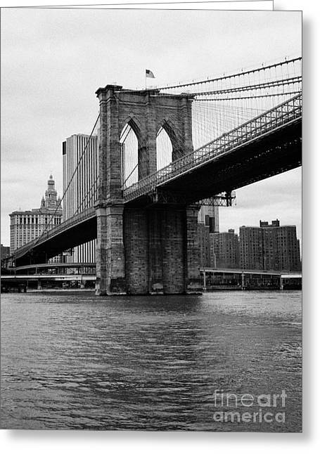 Manhatan Greeting Cards - View of New York from beneath the Brooklyn Bridge usa Greeting Card by Joe Fox