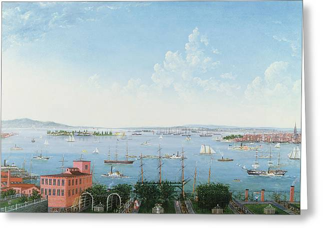 Blue Sailboats Greeting Cards - View of New York Harbor from Brooklyn Heights Greeting Card by American School