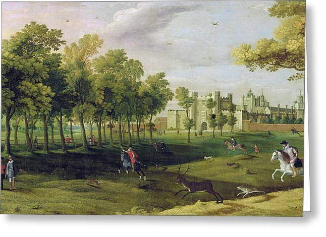 Stag Greeting Cards - View Of Nonsuch Palace In The Time Greeting Card by Flemish School