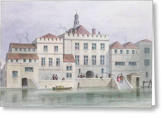 Guild Greeting Cards - View Of Old Fishmongers Hall, 1650 Wc On Paper Greeting Card by Thomas Hosmer Shepherd