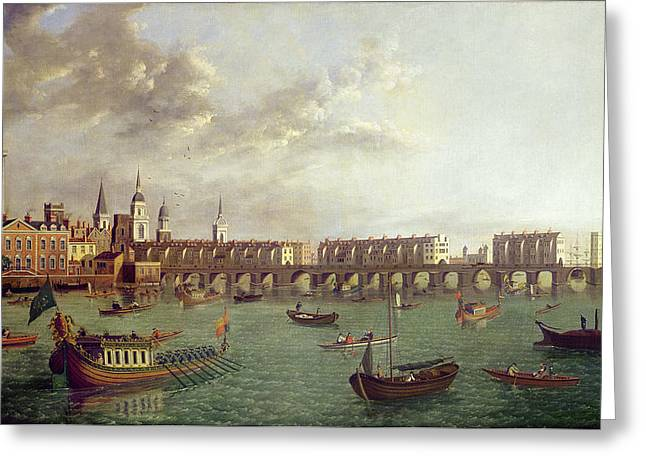 Thames River Greeting Cards - View Of Old London Bridge Oil On Panel Greeting Card by English School