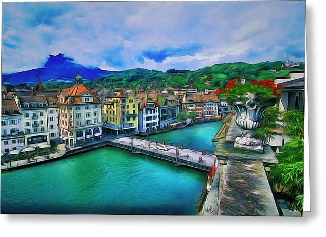 Old Town Digital Greeting Cards - View of Old Town Greeting Card by Yury Malkov
