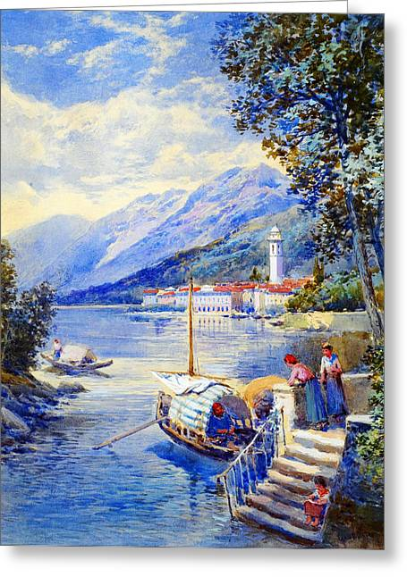 Bravery Greeting Cards - View of Pallanza on Lago di Maggiore Greeting Card by Charles Edmund RowbothamCharles Edmund Rowbotham