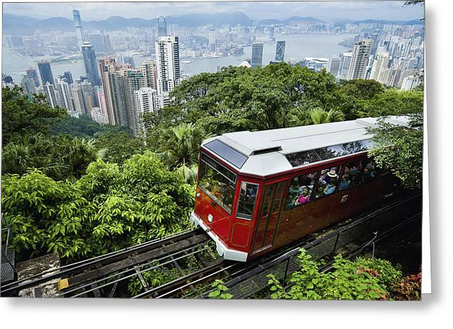 Green Day Greeting Cards - View Of Peak Tram Arriving At The Top Greeting Card by Axiom Photographic