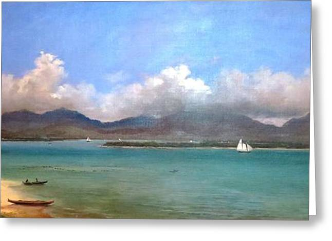 Canoe Paintings Greeting Cards - View of Pearl Harbor - 1890 Greeting Card by Pg Reproductions