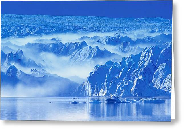 View Of Pederson Glacier In Fog Kenai Greeting Card by Michael DeYoung