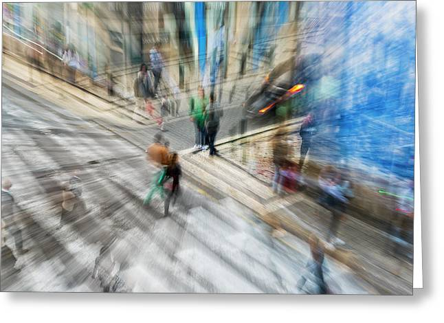 View Of Pedestrians And Cars Greeting Card by Ben Welsh