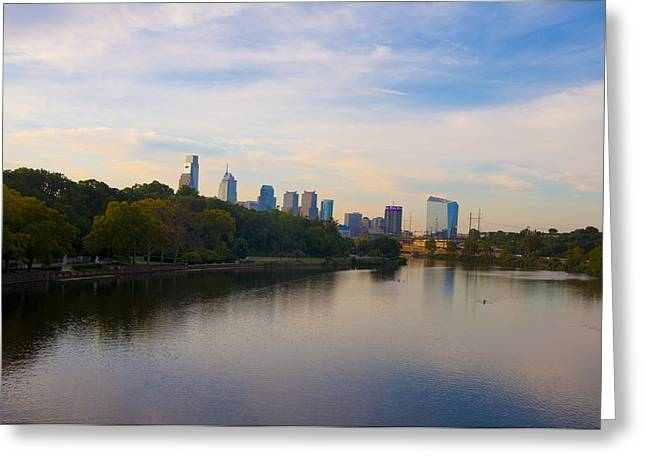 Kelly Drive Digital Greeting Cards - View of Philadelphia from the Girard Avenue Bridge Greeting Card by Bill Cannon