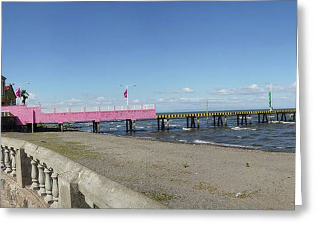 View Of Pier On Beach, Lake Nicaragua Greeting Card by Panoramic Images