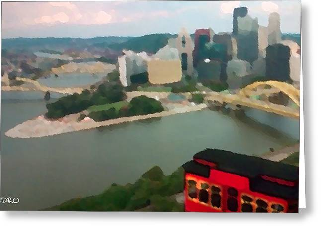View Of Pittsburgh From Mt. Washington Greeting Card by George Pedro
