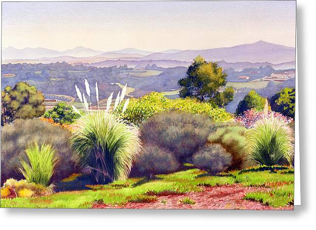 Santa Fe Greeting Cards - View of Rancho Santa Fe Greeting Card by Mary Helmreich