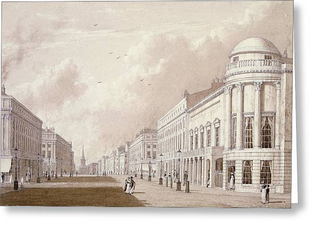 Street Scenes Greeting Cards - View Of Regent Street, 1825 Ink Pencil Wash On Paper Greeting Card by English School