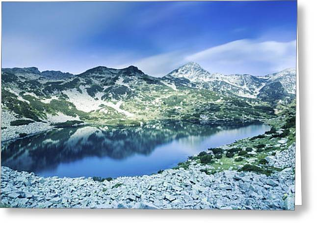 Reflections Of Sky In Water Greeting Cards - View Of Ribno Banderishko Lake In Pirin Greeting Card by Evgeny Kuklev