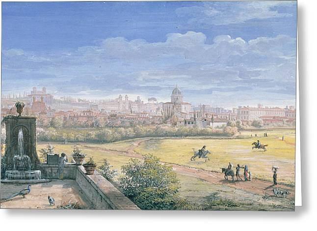 Italian Landscape Paintings Greeting Cards - View of Rome Greeting Card by Gaspar van Wittel