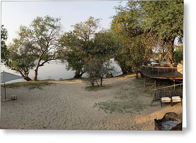 View Of Safari Camp, Toka Leya, Zambezi Greeting Card by Panoramic Images